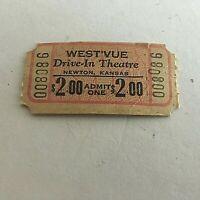 Vintage West'vue Drive In Theatre Ticket Newton Kansas Unused New Old Stock