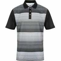 ISLAND GREEN COOLPASS BRANDED SNAPS PLACKET STRIPE MENS GOLF POLO SHIRT