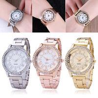 Women Crystal Rhinestone Analog Quartz Stainless Steel Bracelet Wrist Watch 021L