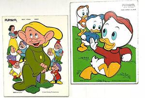2 Vintage Wooden Walt Disney DOPEY Puzzle  SNOW WHITE Huey Dewey Louie Playskool