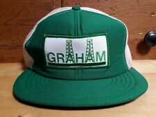 Vintage Rare Graham Oil Fields Texas Truckers Hipster Cap Hat Adjustable