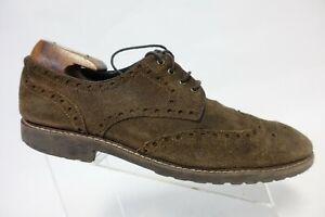 JOHNSTON & MURPHY Suede Brown Wingtip Sz 12 M Men Derby Dress Shoes
