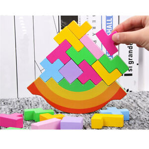 Wooden Montessori Moon Building Blocks Toy Kids Baby Educational Balance Game 6A