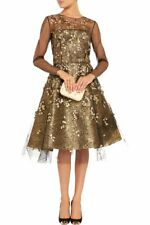 $6K P'17 GLAMOROUS Oscar De La Renta tulle w/crystals & gold appliquéd 3-D dress