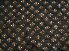 floral upholstery fabric navy pink & yellow 35 x 48 inches
