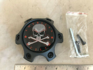 American Outlaw Flat Black Wheel Rim Hub 6x114.3 6x4.5 Cover Center Cap BC-788S