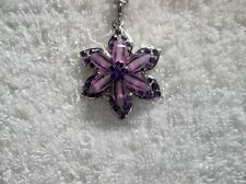 Ex-Display PURPLE Faceted FLOWER NECKLACE With Rhinestones