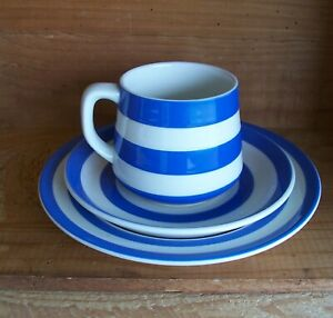 Cornishware. T.G. Green. Blue Coffee Cup Trio. Made In England.