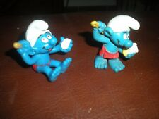 LOT 2 FIGURINES SCHLEICH BULLY GERMANY PEYO SCHTROUMPFS A LA DOUCHE - SMURF