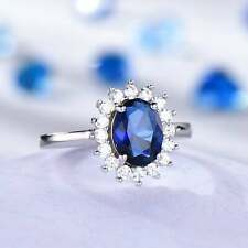 2Ct Oval Cut Blue Sapphire & Diamond Halo Anniversary Ring 14K White Gold Finish