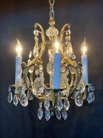 Antique Vintage French Crystal Bronze Brass Birdcage Chandelier Petite 4 Light