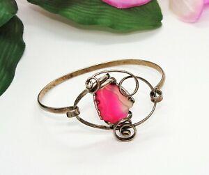 Unique! Silver & Pink Geode Quartz Slice Freeform Artistic Cuff Bracelet!