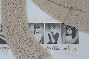 vintage retro 1960s crochet COLLAR & CUFF set SEMCO 283 Lynne pattern