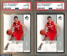Investor Lot of (2) 2011 SP Authentic #23 Klay Thompson RC Rookie PSA 10