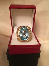 * FABULOUS 1980's ESTATE BLUE TOPAZ & YELLOW SAPPHIRE FILIGREE 18k GOLD RING *