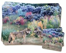 Wolves Print Twin 2x Placemats+2x Coasters Set in Gift Box, AW-45PC