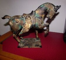 Vintage Asian Japan Heavy Cast Iron Ming Tang? Style Horse Statue Gold Wash