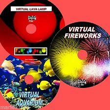 VIRTUAL FISH TANK, FIREWORKS & LAVA LAMP 3 DVD VIDEO SET VIEW ON TV/PC Etc NEW