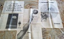 1969 Full page LA Times ads APOLLO 11 FIRST MOON LANDING Omega TWA Hilton Gruman