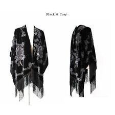 New Style Women's Poncho Cape Shawl Silk Burnout Velvet One Size Designed