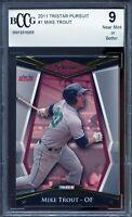 2011 TRISTAR Pursuit #1 Mike Trout Rookie Card BGS BCCG 9 Near Mint+