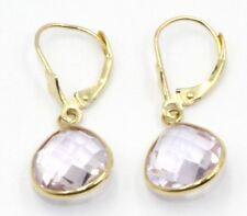 Pink Amethyst Pear Dangle Earrings,14K Yellow Gold Leverbacks