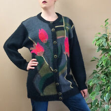 Vintage Long Black Soft Mohair Wool Cardigan With Buttons Women's Small UK 8 10