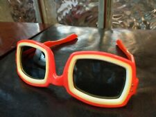 Vintage Orange White Square Sunglasses Goggles France Mod 60s 70s GoGo Retro!