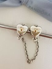 Authentic Pandora Silver & 14k Gold Heart & Crown Two Tone Safety Chain - 791878