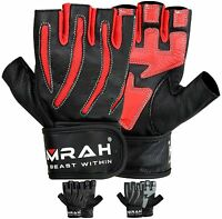 EMRAH WEIGHT LIFTING PADDED LEATHER GLOVES FITNESS TRAINING BODY BUILDING GYM