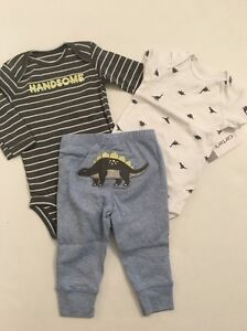 Carters Baby Boys Dinosaur Bodysuits Pants Set Size Preemie NB 3 6 9 12 18 24 Mo