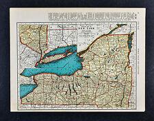 c. 1935 McNally Map - New York Long Island Albany Catskill Buffalo Manhattan NYC