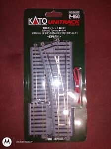 """HO Scale Electric Turnout #4, 246mm (9-3/4"""") - Left - Kato #2-850"""