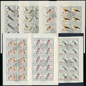 Czechoslovakia 942-948 sheets/10,CTO.Mi 1163-1169 klb. Birds 1959.Woodpecker