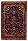 Vintage Oriental Malayer Rug, 3'x5', Blue/Red, Hand-Knotted Wool Pile