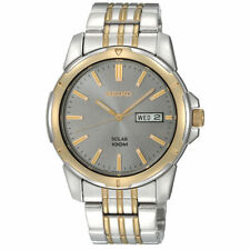 Mens Seiko Solar Classic Gold Silver Stainless Gray Dial Watch Day Date SNE098