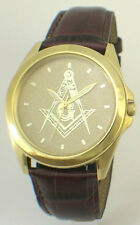 CITIZEN BRAND MASONIC MEDALLION DIAL WATCH - POLISHED ALL GOLD FINISH - NEW