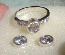 jem: ELEGANT .50ct BEZEL DIAMOND EARRINGS & RING SET
