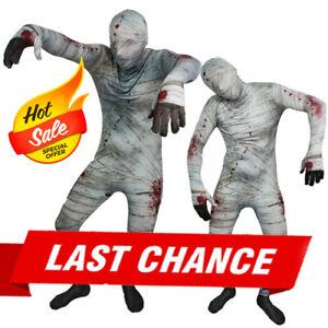 Full Body Grey/White Spook Mummy Lycra Zentai Suit Halloween Party Costume XXS-L