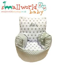 Personalised Girls Boys Grey Patchwork Toddler Bean Bag Chair (NEXT DAY DISPATCH