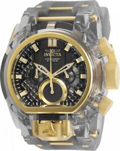 Invicta Mens Reserve 52mm Bolt Zeus Magnum Gold-Tone Gray Dual Dial Strap Watch