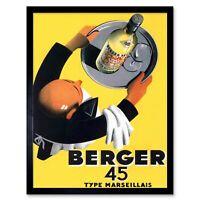 Advertisement Wine Berger 45 Food Kitchen Waiter 12X16 Inch Framed Art Print