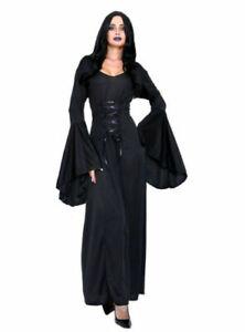 Adult Evil Queen Sorceress Costume Women's Halloween Black Witch Costume Gothic