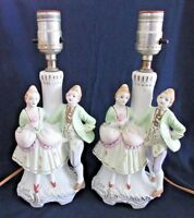 Vanity Lamps, Man & Woman Figures, Working, Japan Hand Painted Vintage Porcelain