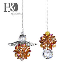 Handmade Champagne Crystal Angel Pendant Suncatcher Window Hanging Gifts Pack 2