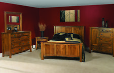 QUICK SHIP! Luxury Amish Shaker Solid Wood Bedroom Set 6-Pc Queen King Panel Bed