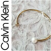 Calvin Klein Stainless Steel Goldtone Bubbly Faux Pearl Bracelet New wf Tag $119