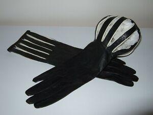 Vintage Kid Leather Gloves Caged Cuff Black & White Unworn Size 7