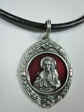 "Large Sacred Heart Medal Red Enamel Italy Pendant Necklace 18-20"" Leather Cord"