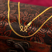 "17.3""L Real Solid 24k Yellow Gold Necklace Women Men Luck Curb Link Chain 2.5-3g"